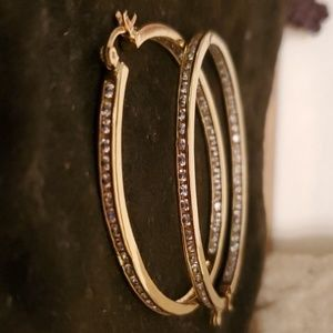 Gold plated Oval shaped simulated stone Hoops